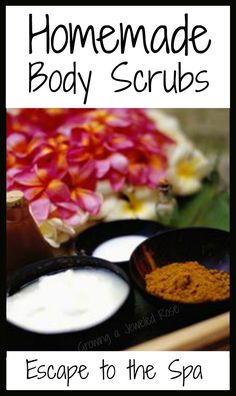 These homemade body scrub recipes will leave you feeling like you just left the spa!  Made from simple ingredients with little cost. (make Time for Mom)