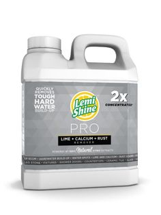 Lemi Shine® PRO Concentrate Lime, Calcium, Rust Remover. Natural citric extracts dissolve soap scum, hardwater buildup and grime while a naturally-derived polymer creates an invisible barrier preventing new buildup.