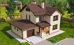Готовый проект 2-этажного дома с гаражом на 1 машиноместо площадью 158м2 в Краснодаре