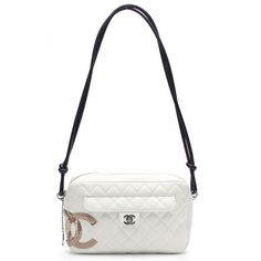 Chanel White Quilted Leather Python Cambon Camera Handbag