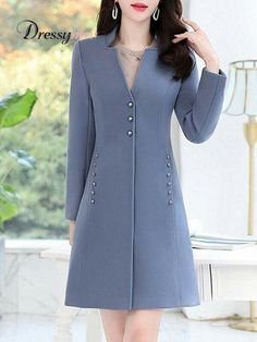 Women's Fashion Solid Color Long Sleeve Slim Coat Find latest women's clothing, dresses, tops, outerwear, and other fashion clothing and enjoy the worldwide shipping # Hijab Fashion, Fashion Dresses, Fashion Coat, Color Fashion, Coat Dress, Shirt Dress, Coats For Women, Clothes For Women, Mode Mantel