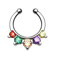 Lesbian Gay Pride Triangle Paved CZ Non-Piercing Septum Hanger for... (305 MXN) ❤ liked on Polyvore featuring jewelry, pave jewelry, body jewellery, body jewelry, cz jewelry and triangle jewelry