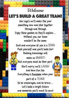Perfect for back to school Lego Theme!