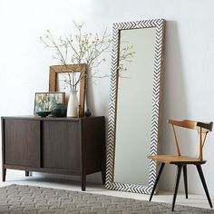 Parsons Floor Mirror - Gray Herringbone #westelm ... Thinking I could DIY this with a cheap mirror, some wood and a little paint.