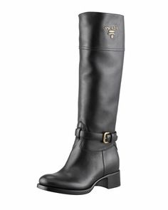Tall Logo Riding Boot, Black by PRADA at Bergdorf Goodman.