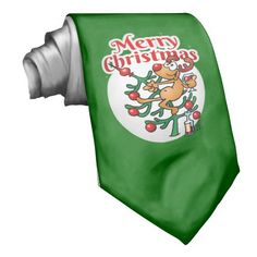 Reindeer in a Christmas tree neck tie. #Zazzle #Cardvibes #Tekenaartje #Christmas