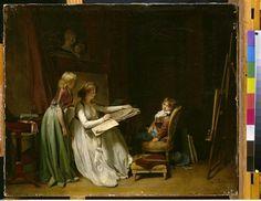 Femme peintre dans son atelier, Boilly Louis Léopold (1761-1845), Allemagne, Schwerin, Staatliches Museum, Kunstsammlungen, Schlösser und Gärten