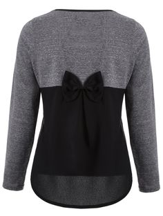 $12.88 Back Bowknot Embellished High-Low T-Shirt