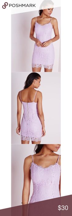NWT Missguided Strappy Lace Bodycon Dress NWT Super pretty and very flattering Missguided strappy lace bodycon dress in lilac! Perfect for a night out! Size US 4, UK 8 Missguided Dresses Mini
