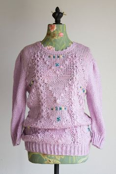 SWEET ADIEU sweater Vintage 1970s lavender sweater by GoldBanana
