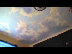 Mural Joe describes his thought process and demonstrates his technique for shaping realistic clouds. Though you may not be painting a ceiling mural, this is a great lesson on lighting and form. Enthusiasm also makes Joe memorable. Ceiling Painting, Ceiling Murals, Faux Painting, Mural Painting, Wall Murals, Wall Art, Painting Clouds, Painting Lessons, Painting Tips