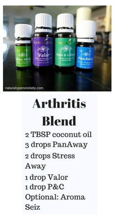 If you have Arthritis, you'll want to try these Young Living essential oils - Panaway, Peace and Calming, Stress Away, and Valor. Get yours at www.StopDropAndOil.com