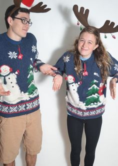 """Ugly Christmas Sweater"" Couple Style 