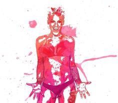 Pink watercolour portrait by beabuks