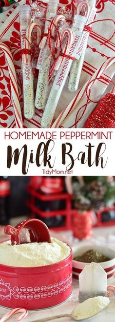 Milk has many beauty benefits. A simple milk bath can moisturize and soften your skin. With just a few ingredients, it makes an easy homemade gift. Homemade Peppermint Milk Bath recipe and gifting ideas at TidyMom.net