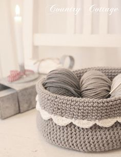 A little grey crocheted basket
