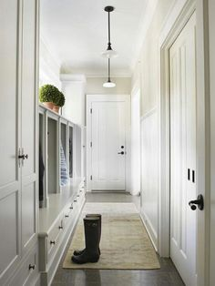 For a long narrow mud room...
