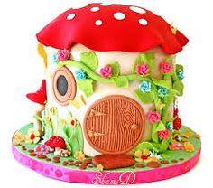 Toadstool House Cake by ~Très Chic Cupcakes by Shams Pretty Cakes, Cute Cakes, Beautiful Cakes, Amazing Cakes, Fondant Cakes, Cupcake Cakes, Mushroom Cake, Mushroom House, Toadstool Cake