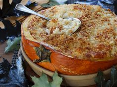 What a fantastic Holiday Idea!! And it's delicious too..Mac & Cheese Baked in a Pumpkin! #macandcheese #comfortfood