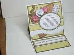 (Ref:B50) A 15cm X 15cm birthday easel card using various dies, Nitwit papers and an LOTV sentiment stamp. This came about after seeing a Dawny P card on the LOTV blog.