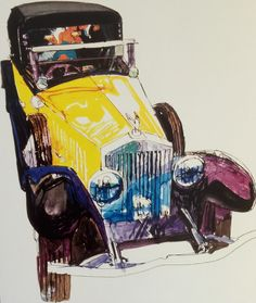 "Bob Peak illustration for the (1964) film ""The Yellow Rolls-Royce""  1 730×2 048 пикс"
