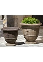Bring quiet elegance to your garden or entryway with the Fleur de Lis Urn Planter from Campania. Crafted of cast stone and featuring a timeless urn shape with a classic fleur de lis emblem. This beautiful planter is a classic favorite. Large Garden Planters, Stone Planters, Urn Planters, Concrete Planters, Fiberglass Planters, Classic Garden, Garden Fountains, Water Fountains, Humming Bird Feeders