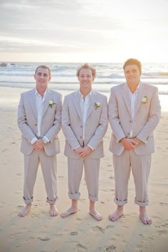 Groom & groomsmen in beige suits