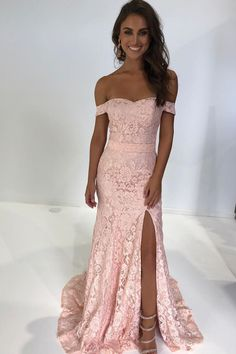 Zibbet Dresses Gorgeous Off the Shoulder Pink Mermaid Lace Long Party Dress with Side Slit by dresses, $141.75 USD