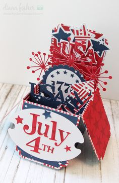Bella Blvd All American collection. July explosion card by DT Member Diana Fisher Card In A Box, Pop Up Box Cards, 3d Cards, Folded Cards, Stampin Up Cards, Card Boxes, Easel Cards, Card Kit, Gift Cards