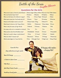 Couples Shower -Battle of the Sexes Game Wedding Party Games, Wedding Shower Games, Bachelorette Party Games, Couple Shower Games, Couple Games, Shower Together, Perfect Wedding, Wedding Day, How To Plan