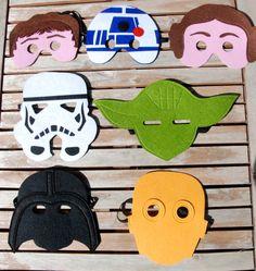 5 Star Wars Masks  of your choice/Star wars  Felt Mask set/Yoda/Darth Vader/Stormtrooper/C3PO/ Princess Leia / Costume/Dress up