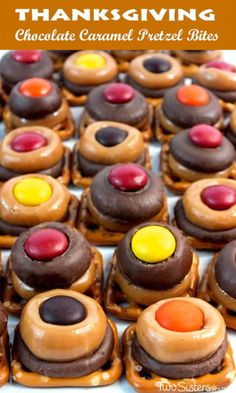 Thanksgiving Chocolate Caramel Pretzel Bites