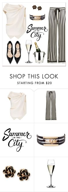 """Summer in the city"" by elli-argyropoulou ❤ liked on Polyvore featuring Roland Mouret, Morgan Lane, Chantecler, Riedel, Winco, stripes, blackandwhite and happyhour"