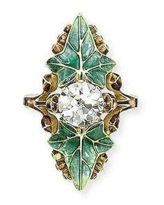 Lucien Gaillard ring, enamel and diamond
