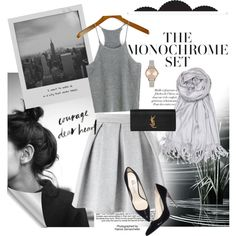 More Shades of Grey by fashionstudiolondon on Polyvore featuring polyvore, fashion, style, Miss Selfridge, Balmain, Yves Saint Laurent, Olivia Burton, Achillea, Meggie and Industrie