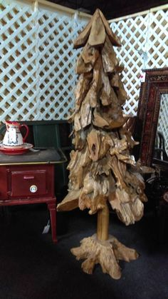 For Sale: Teak Wood Unique Tree for Christmas @ Brass Bear - Vendor 911 (Aisle B ) has this one of a kind treasure -- it is teak wood so it will not rot if you put it outside for decoration... Antiques, Collectibles, Shabby Chic Furniture, Nursery & Children's furniture -- Plus so much more. We are a new shoppe with 300 vendors in a 30,000 sq.ft. building. Everything you could want for the home & office under one roof.  2652 Valleydale Rd. Birmingham, AL 35244. Valleydale Village Shopping…