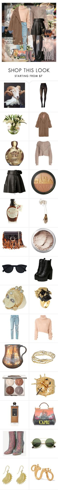 """Caramel Accent"" by lady-redrise ❤ liked on Polyvore featuring ibride, Pretty Polly, Versace, rag & bone, Carven, Crate and Barrel, Godiva, J.W. Anderson, Bare Escentuals and Le Specs"