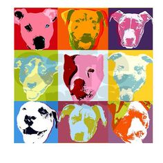 Pop Art Pit Bulls: could make pop art painting of Lou I Love Dogs, Puppy Love, Toy Fox Terriers, American Pitbull, Dog Rooms, Pit Bull Love, Wow Art, Pit Bulls, Beautiful Dogs