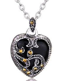 2 Colors Silver Marcasite Heart Necklace Black/Blue Pendant Metal Chain