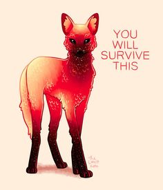 "'""You Will Survive This"" Fire Galaxy Maned Wolf' Poster by thelatestkate Inspirational Animal Quotes, Cute Animal Quotes, Cute Quotes, Cute Animals, Cute Animal Drawings, Cute Drawings, Mon Combat, Wolf Poster, Maned Wolf"