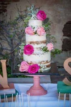 Beautiful layer cake at a bridal shower party! See more party planning ideas at CatchMyParty.com!