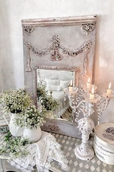 Trumeau Mirror, Hello Ladies, Light Side, French Decor, Creamy White, Shabby Chic Decor, Cottage Style, Altered Art, Table Decorations