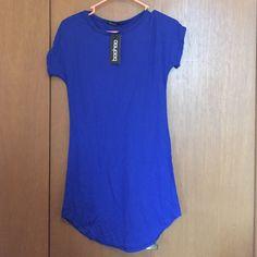 Curved Hem T-shirt Dress Somewhat loose. Body forming tshirt dress. Medium length. Adorable. Very comfortable. Boohoo Dresses Mini