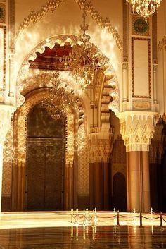 Golden - Hassan II Mosque in Casablanca, Morocco.