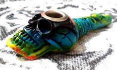 Black Tie Dye Colors Mix Snake Skull Tobacco Smoking Pipe Small Bowl Metal Lip