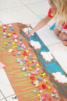 Papierblumenwiese. Versüsst uns den Regentag. Gute Kombination aus Aquarellstiften, Pinsel, Wasser, Kleber, Watte, farbiges (Geschenk-)papier und Wachsmalstiften