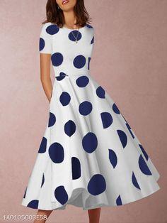 Dot print dress - Round Neck Polka Dot Skater Dress florafafa com – Dot print dress Casual Dresses, Fashion Dresses, Summer Dresses, Dresses Dresses, Stylish Dresses, Fashion Clothes, Stylish Outfits, Cheap Dresses Online, Floral Skater Dress