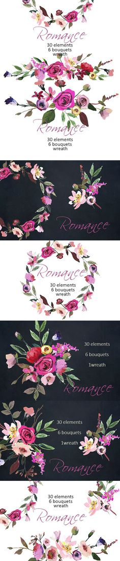 Romance floral clipart set. Wedding Card Templates
