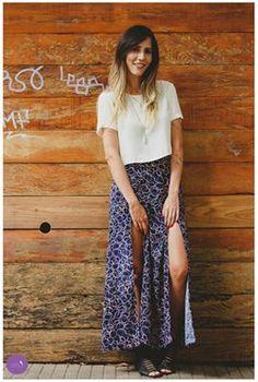 Que charme essa saia longa com fendas... #Vemprazas