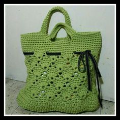 Green Pea Tote Bag/Crochet Shopper Tote Bag/Market by FondOfKnots